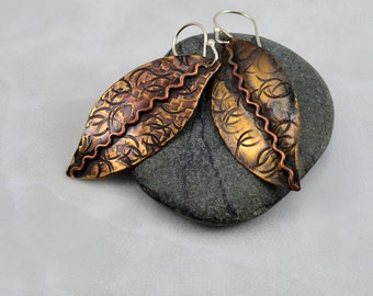 Textured Brass Leaf Earrings with Soldered Wavey Copper Wire