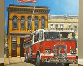 """Archival Print of Original Painting """"Engine 14"""" Hollins Street, Baltimore City Fire Department on Watercolor Paper."""