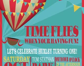 Hot air balloon digital birthday invite