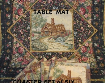 COASTERS & TABLE MAT Set of Six Plus Mat Country Cottages Shabby Chic Home Décor Gifts