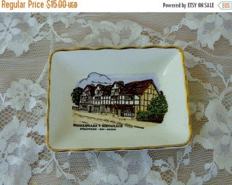 Spring Sale Shakespeare Birthplace Collectible Mini Plate, Stratford on Avon, Vintage Item, Ashley Glough Souvenirs, Made in England