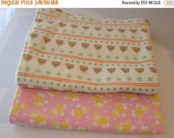 Spring Sale Set of Two Handmade Flannel Receiving Blankets - Cute Teddy Bear Print and Lamb Print