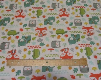 White Woodland Animal with Fox/Bear/Turtle/Owl  Flannel Fabric by the Yard