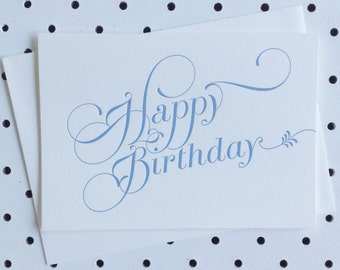 Letterpress Card 'Happy Birthday' - Blue