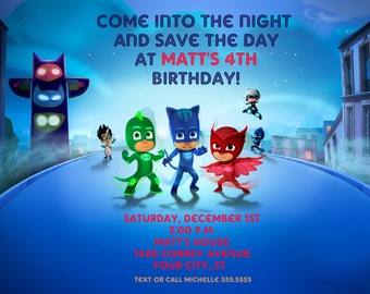 PJ Masks Birthday Party Invitation