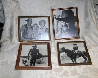 Rare Collectible Vintage Lot of Four (4) John Wayne Black & White Photographs / All Framed!!