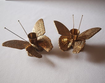 Brass Butterfly Candle Holder (Set o 2)