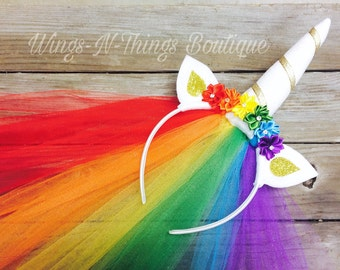 RAINBOW UNICORN HEADBAND w/ tulle veil, White, Rainbow, Hair Accessory, Dress Up, Horn, Ears, Girls, Halloween, Toddler, Kids, Birthday