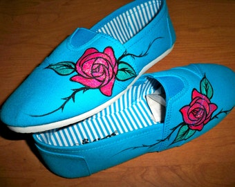 Rose & Thorns,Painted Shoes, Hand Painted,Womens Shoes,Canvas Sneakers, Aqua, Blue, Size 8,Painted Flats,Wearable Art,Ladies painted sneaker