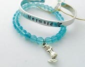 Mermaid Bracelet Stack - Mermaid Gypsea Jewelry - Beach Girl - SUP GIRL - ocean inspired jewelry