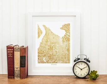 Tacoma Map, Gold Foil Map™ of Tacoma, Washington, Gold Foil Print, Wall Art, Tacoma Print, Map of Tacoma, Gold Foil Wall Art, Map Wall Art