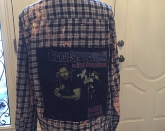 vintage Bruce springsteen tshirt distressed flannel