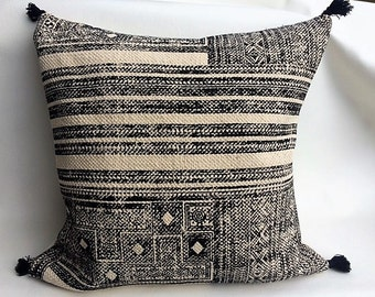 Cream and Black Tribal Block Print Pillow Cover with pom poms