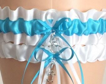 White and Turquoise Wedding Garter Set, Wedding Gift, Turquoise Bridal Garter Set, Prom Garter, Weddings