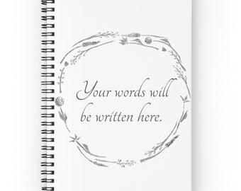Custom Notebook, your words notebook, custom notebook, custom words journal, personalized notebook, personalized journal, white notebook