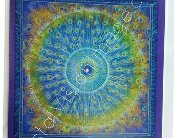 Peacock Mandala    Greeting Gift Card Art by Paul Heussenstamm    Hand Embellished