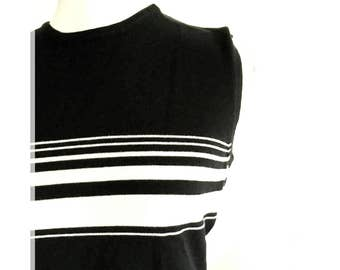 Striped top- black and white top- knit top
