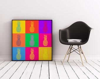 Warhol with Pineapples, Pineapple Art, Pop Art Print, Warhol Style, Modern Art, Fruit Print, Pineapple Print, Pineapple Decor, Large Art