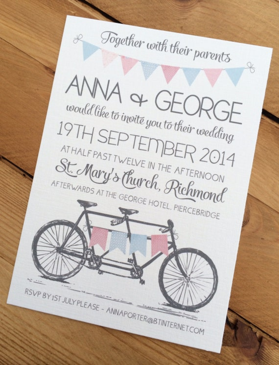 50 x Tandem Bunting Wedding Invitations A6 with envelopes