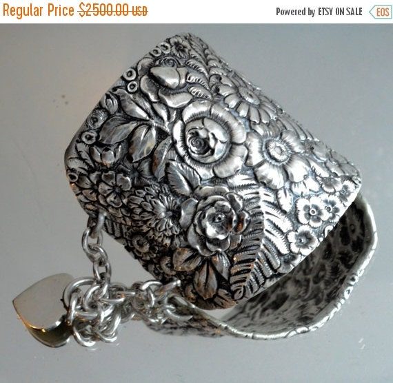 SALE 40% OFF Antique Tiffany Solid Sterling Silver 925 Victorian Wide Cuff Bracelet Floral Repousse Warrior Armlet Heart Chain .925 Bride Br