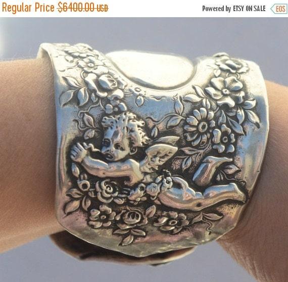 SALE 40% OFF Rare Antique Victorian Tiffany Cherub Angel Art Nouveau Solid Sterling Silver 925,Wide Cuff Bracelet, Cupid Putti Baroque,Spoon