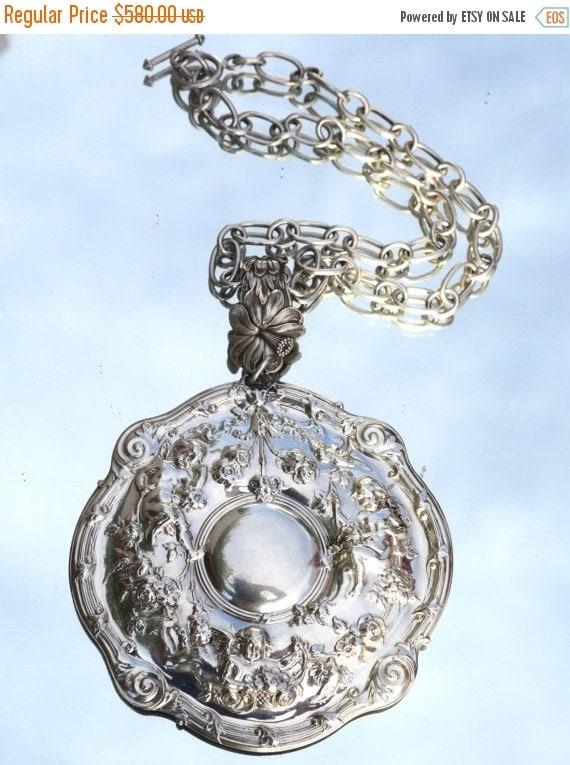 SALE 40% OFF Antique Gorham Cherub Cupid Putti Angels Victorian Pendant Choker Repoussé Sterling Silver 925 Pendant Baroque Rococo Hip Hop C