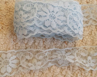 """Wide Light Blue Lace, 1.5"""" wide insertion or edging lace, Baby Blue Lace for Crafts or Sewing projects, 2 Yards"""