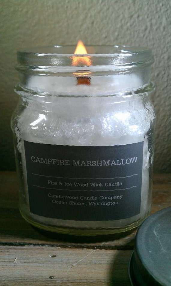 Campfire Marshmallow - New Fire & Ice Wood Wick Candle with Pewter Lid - 9 oz - Free Shipping in USA