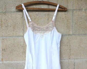 Sweet Vintage Junior White and Beige Lace, Sears Slip, Size 7