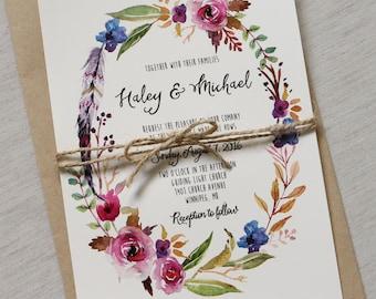 Boho Chic Wedding Invitation, Floral Wedding Invitation, Rustic Wedding Invitation, Modern Wedding Invitation, Printable, DIY