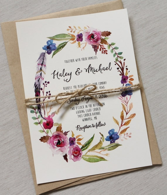 Boho Chic Wedding Invitation Floral Wedding Invitation