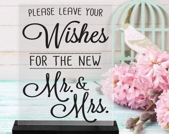 PleaseLeaveYourWISHES/Mr./Mrs./WeddingAdvice/Reception sign/Bride/Groom