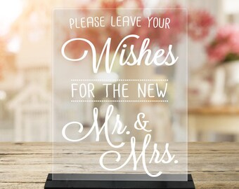 PleaseLeaveYourWISHES/Mr./Mrs./WeddingAdvice/Reception sign/Bride/Groom