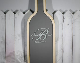 Personalized Guest Book/Engraved Guest Book/Monogram/Wine Bottle/Wood Shapes/Alternative Guest Book/Guest Book/Guest Book Drop Frame