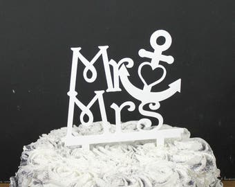 Wedding Cake Topper/Anchor/Nautical/Mr and Mrs/Cake Decor/Top for Cake/Cake Decoration/Sale/Ready to Ship