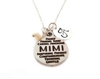 Mimi Charm - Grandmother Necklace -  Swarovski Birthstone -  Custom Initial - Personalized Sterling Silver Necklace - Gift For Her