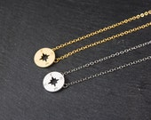 Gold Compass Necklace, Dainty Jewellery, Delicate Fine Chain, Simple Modern Necklace