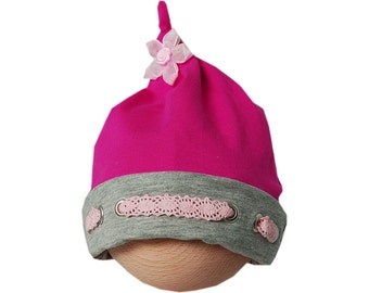 Baby hat with knot and lace hot pink/grey