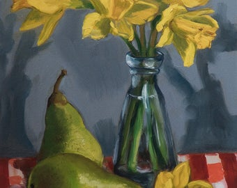 Fine Art Limited Edition Giclée Print Of Original Still Life Oil Painting Daffodils & Pears