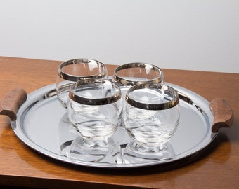 Silver Band Vintage Roly Poly Rocks Glasses