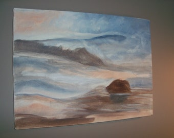 Hand Painted Ocean Seaside Landscape Blue Brown Canvas Wall Art