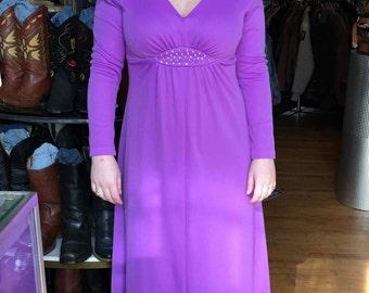 1960's Vintage Purple Lavender Floor Length Formal Dress