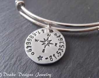 Custom coordinates bangle charm bracelet GPS coordinate with compass personalized jewelry