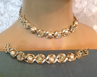 Demi parure choker necklace and bracelet set blue green AB rhinestones pearls gold plated evening bride wedding prom pageant costume jewelry