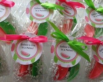 20 Watermelon Soaps Favors, Birthday Party Favors, 40 Soaps Complete with Packaging, Summer Parties, Watermelon Soap