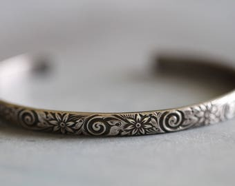 Sterling Silver Cuff Bracelet, Botanical, Leaves and Vines, Floral, Mossy Creek