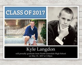 Graduation Announcement Invitation (Available In Any Color) - Printable File or Printed Invitations