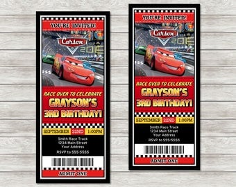 Disney Cars Ticket Birthday Invitations - Digital File