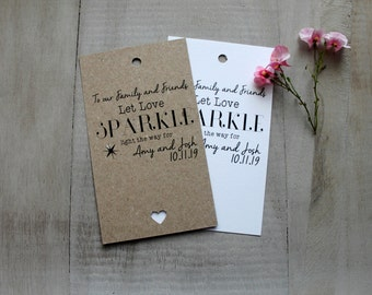10 Wedding Favours Sparkler Holders Cover Personalised Shabby Vintage Rustic Guest Presents