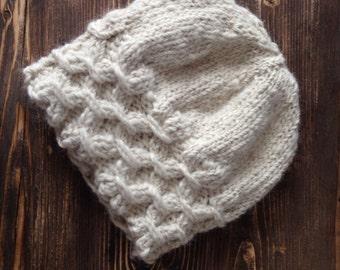 Women white hat, women white beanie, women alpaca hat, women alpaca beanie, winter hat, winter accessory